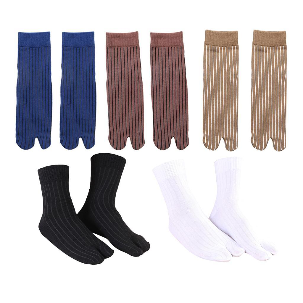 Men-100-Cotton-2-Toe-Socks-Stripes-Tabi-Socks-Hallux-Valgus-Corrector miniature 15
