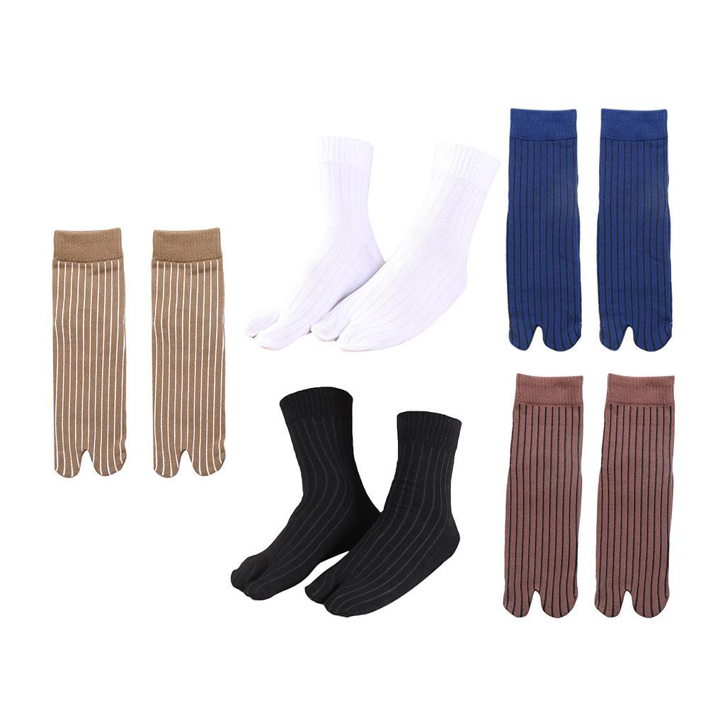 Men-100-Cotton-2-Toe-Socks-Stripes-Tabi-Socks-Hallux-Valgus-Corrector miniature 16