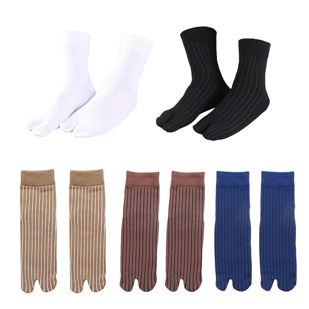 Men-100-Cotton-2-Toe-Socks-Stripes-Tabi-Socks-Hallux-Valgus-Corrector miniature 13