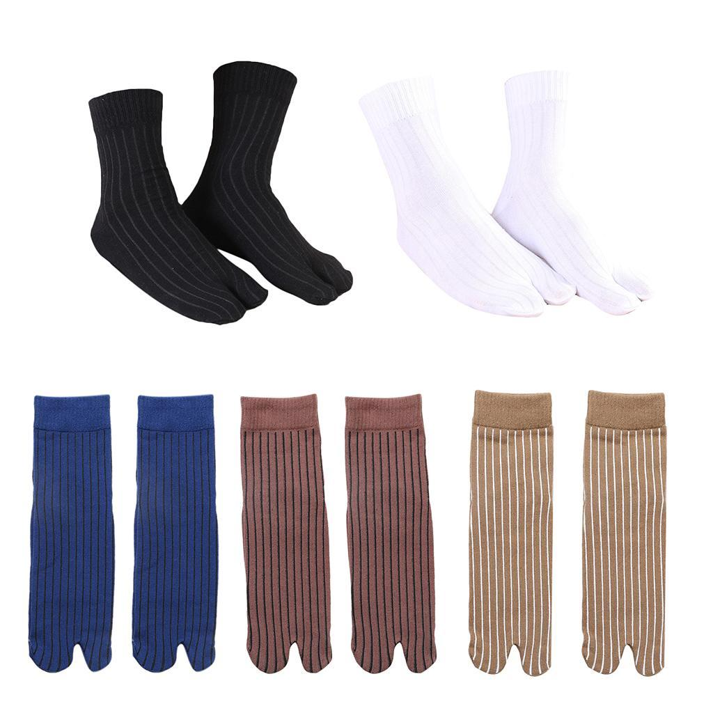 Men-100-Cotton-2-Toe-Socks-Stripes-Tabi-Socks-Hallux-Valgus-Corrector miniature 14