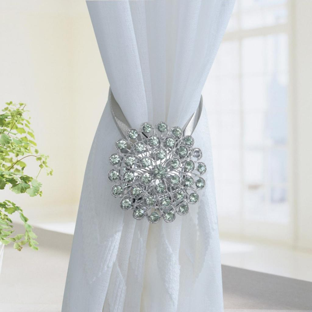 Diamond Magnetic Curtain Tiebacks Tie Back Clips Holdbacks Decoration Drapes