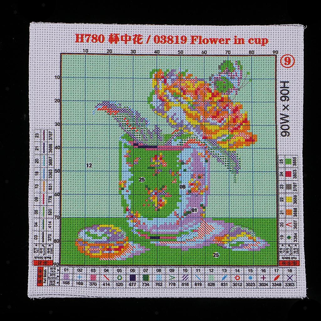 Flowers-Stamped-Cross-Stitch-Embroidery-kit-14ct-11ct-Aida-Cloth-Sewing-Craft thumbnail 4