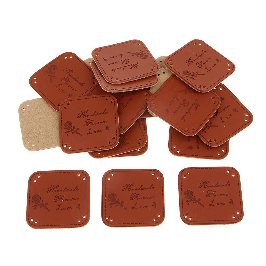 miniatura 20 - Etichette in pelle PU da 20 pezzi per cucire toppe per vestiti Artigianato fatto