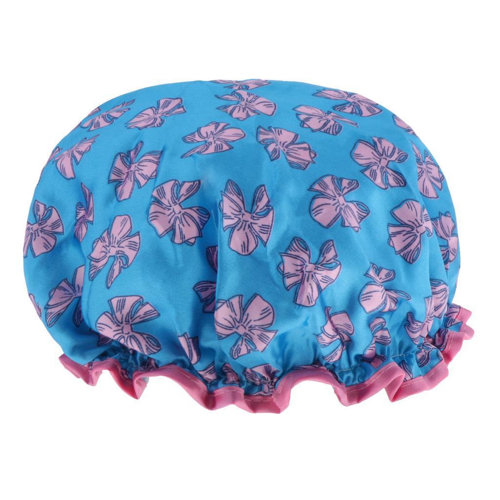 Bonnets-de-Douche-Impermeables-et-Reutilisables-pour-Femmes-Double-Couche-Spa miniature 8