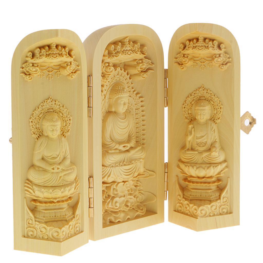 thumbnail 7 - Buddhism Temple Wooden Boxwood 3 Carved Buddha Guanyin Statue Box Set
