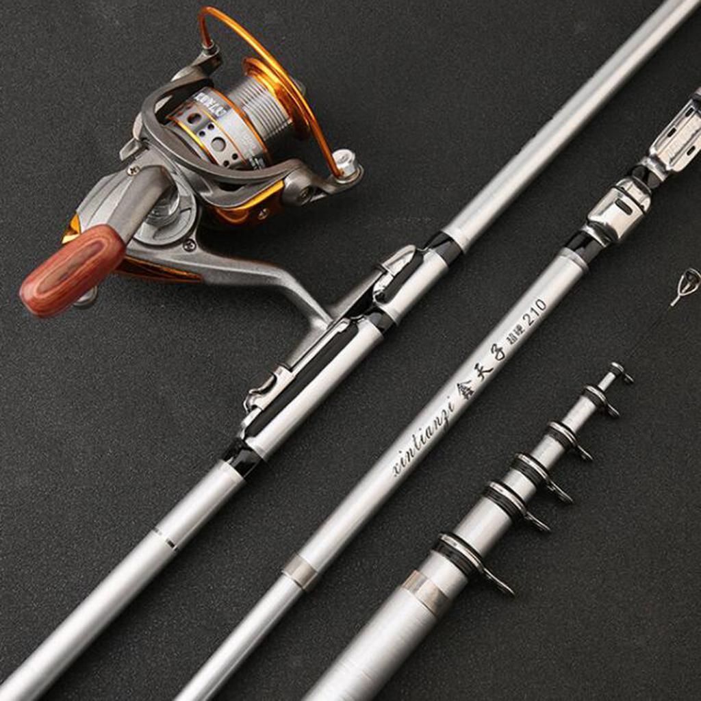Telescopic Fishing Rod Spinning   Sea Rock Fishing Carbon Fiber Pole 5 Sizes