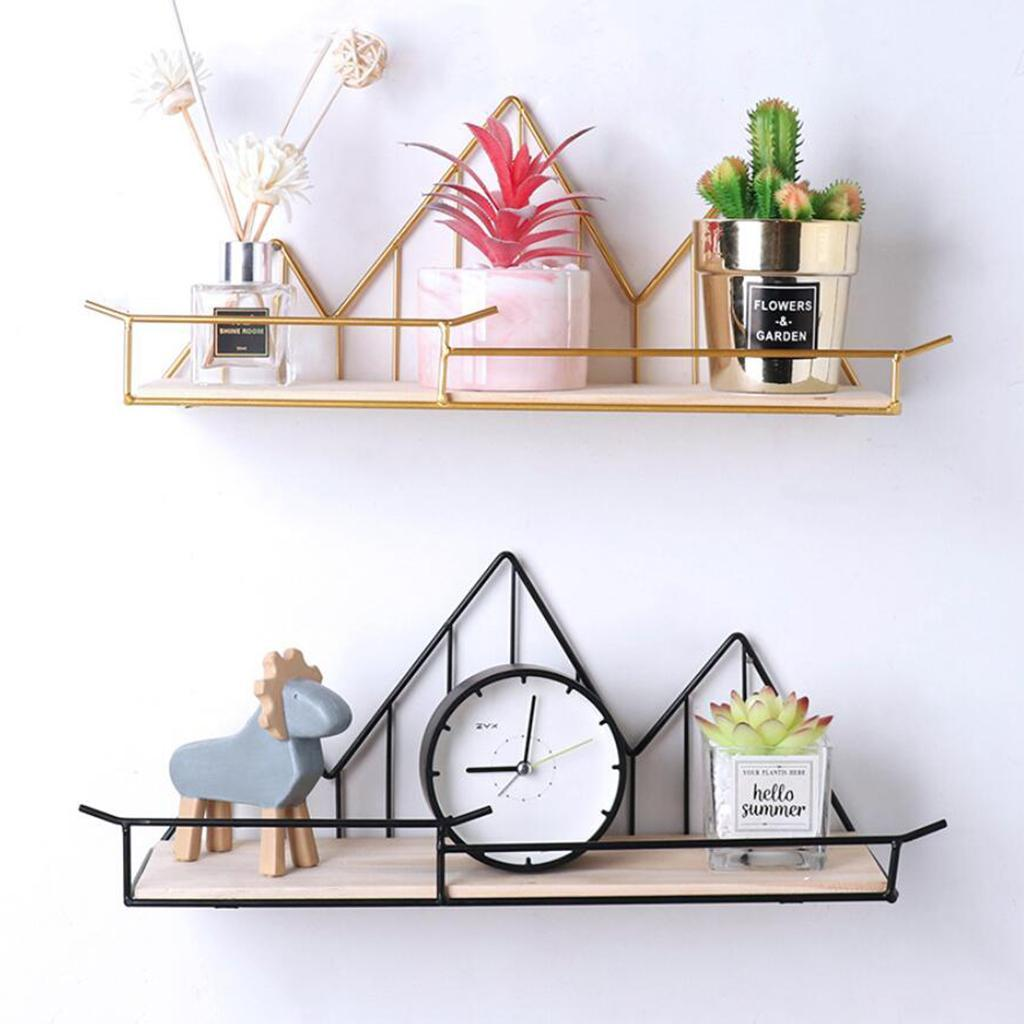 Wall-Shelf-Wood-Iron-Hanging-Holder-Storage-Wall-Mount-Rack-Home-Display miniature 4