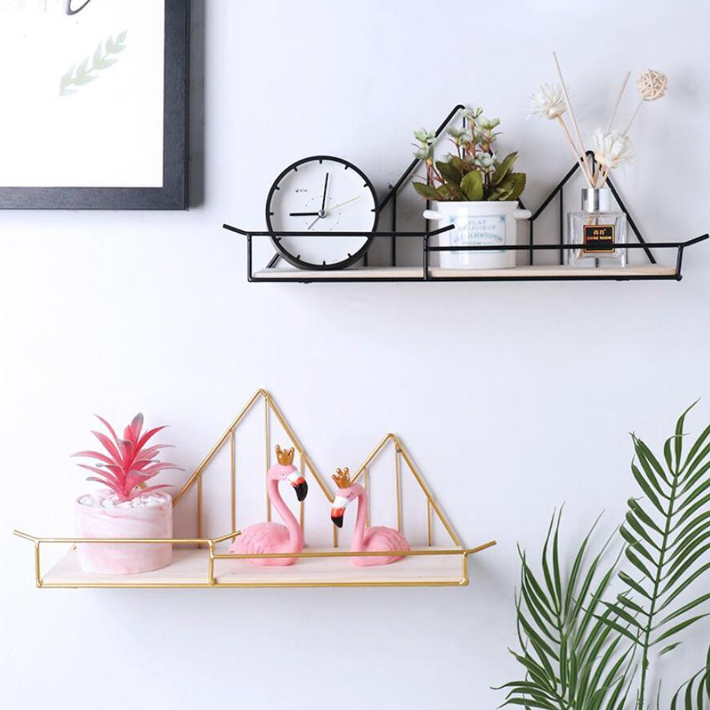 Wall-Shelf-Wood-Iron-Hanging-Holder-Storage-Wall-Mount-Rack-Home-Display miniature 5