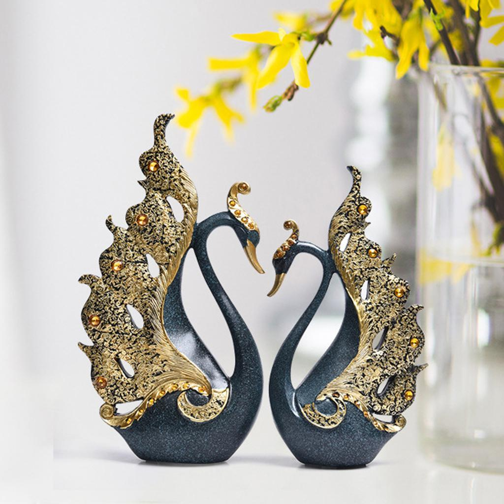 1 Pair Decorative Swan Ornaments Couple Swan Wedding ...