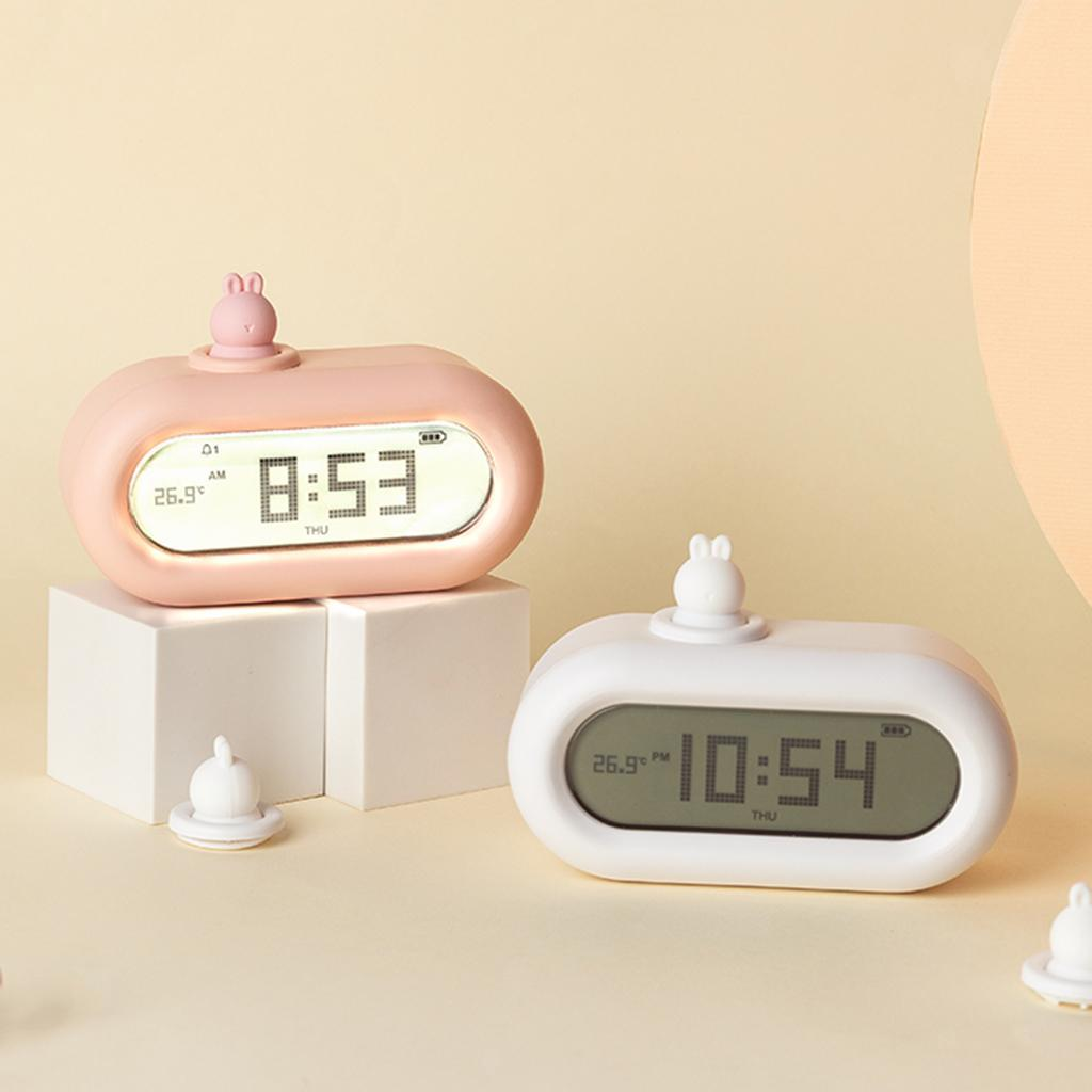 Cute-Cartoon-Bella-Animali-Nightlight-Alarm-Orologi-per-la-Camera-Da-Letto miniatura 21