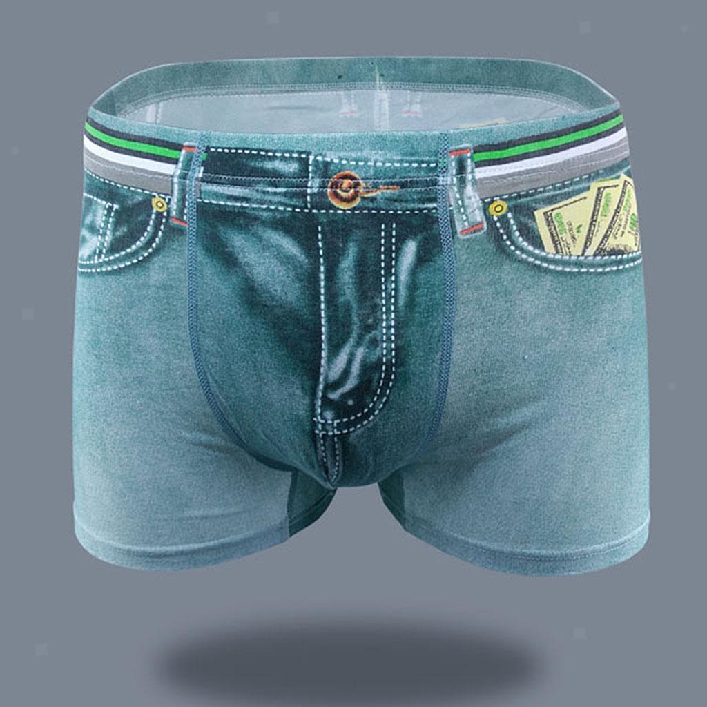 New-Men-Denim-Printing-s-Trunks-Underpants-Briefs-Shorts-Cotton-Underwear thumbnail 20