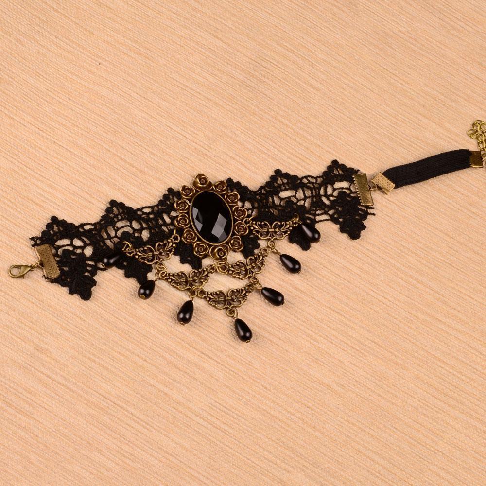 Women-Gothic-Bridal-Armband-Armlet-Arm-Band-Black-Flower-Lace-Beads-Bracelet thumbnail 7