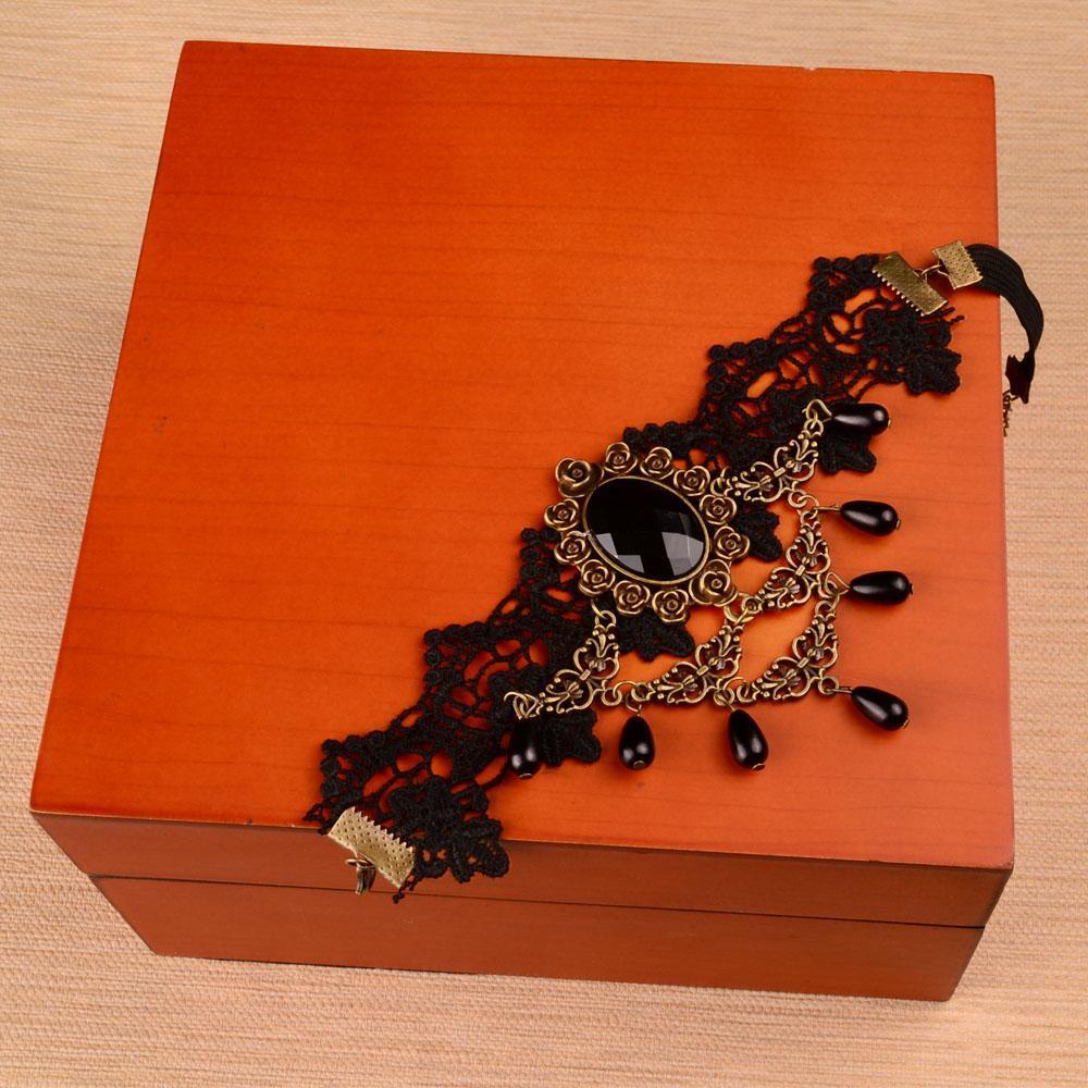 Women-Gothic-Bridal-Armband-Armlet-Arm-Band-Black-Flower-Lace-Beads-Bracelet thumbnail 8