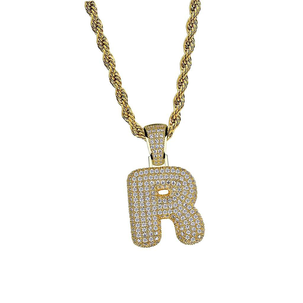 Bubble Letter R  Pendant with 60cm Rope Chain HipHop