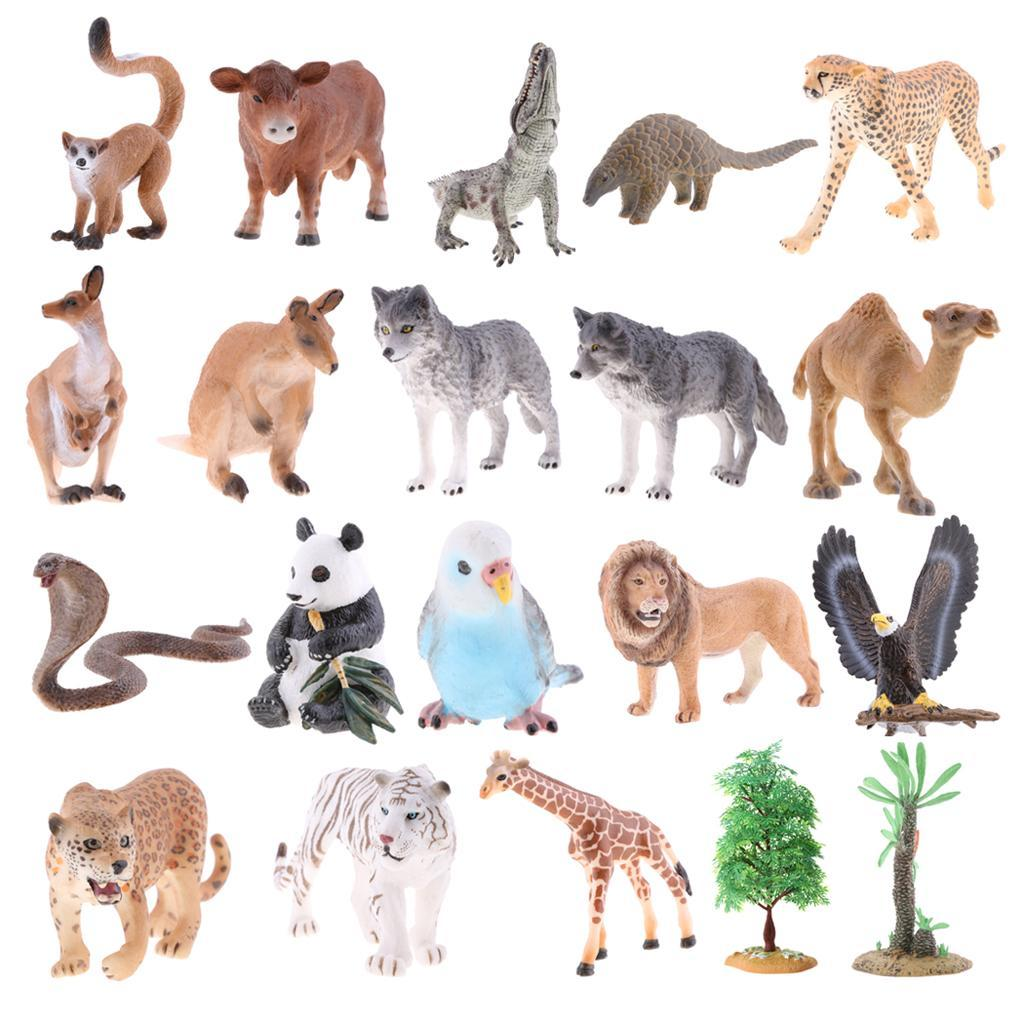 Realistico-Selvaggio-Farm-Natura-Animale-Albero-Modello-Azione-Figure-Kid miniatura 8