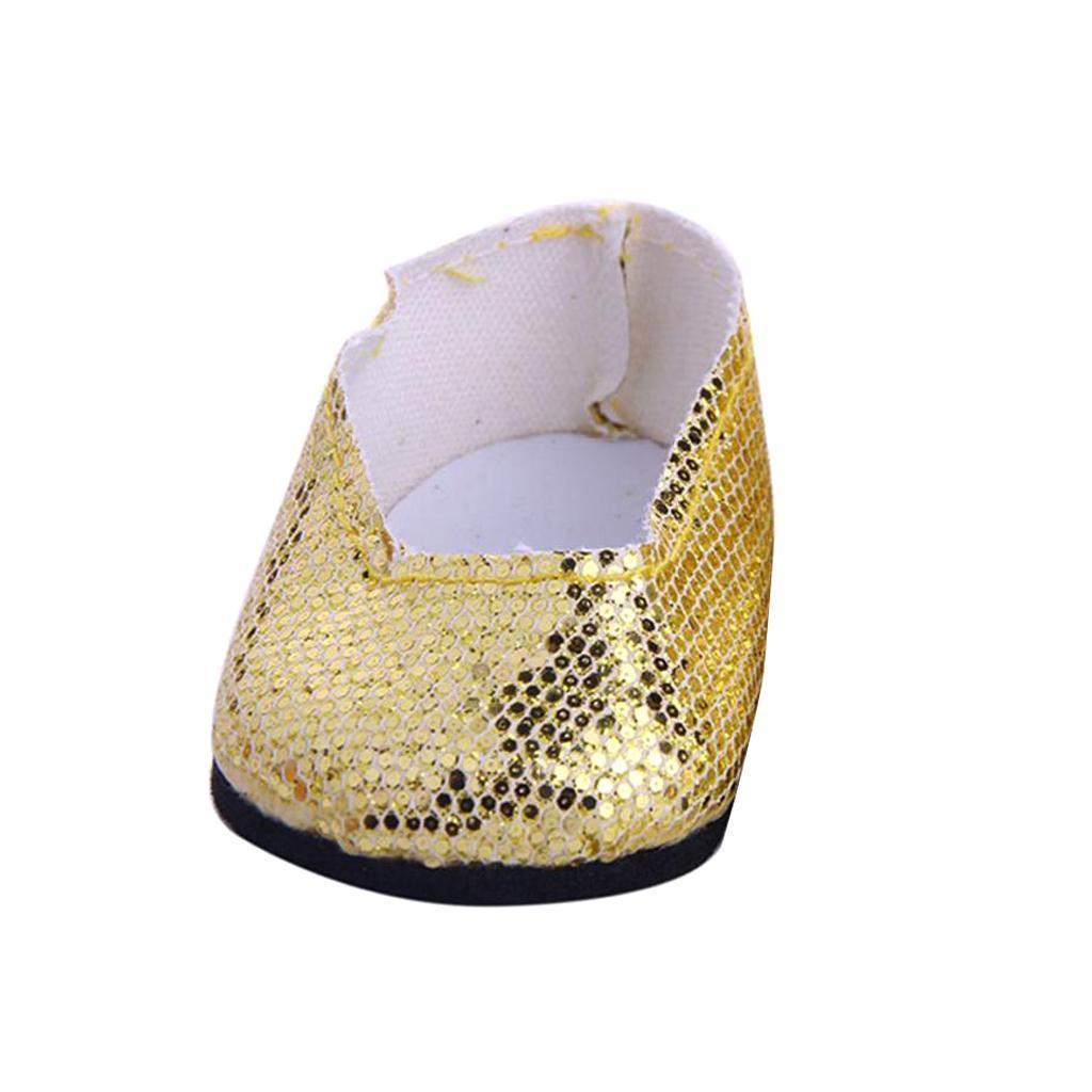 Stilvolle-Outfit-Pailletten-Schuhe-Fuer-18-039-039-My-Life-Dolls Indexbild 9