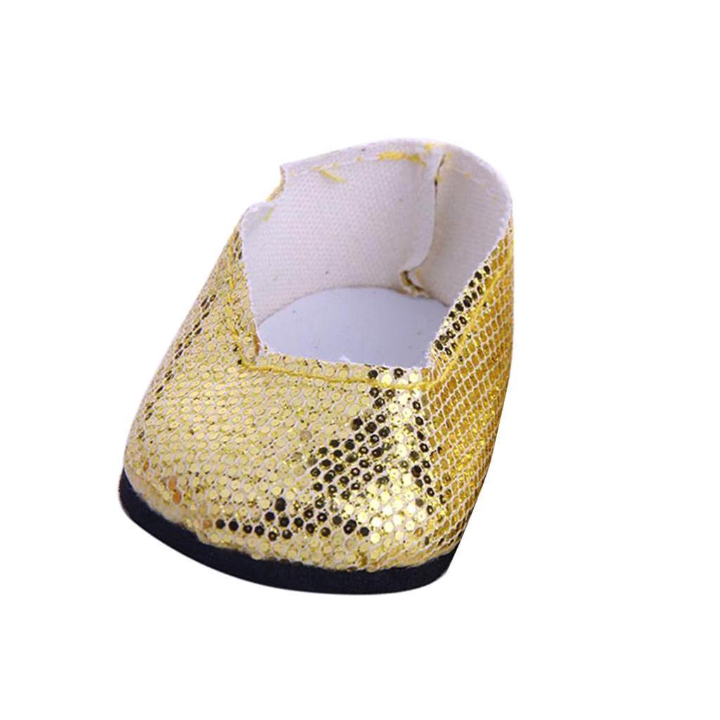 Stilvolle-Outfit-Pailletten-Schuhe-Fuer-18-039-039-My-Life-Dolls Indexbild 10