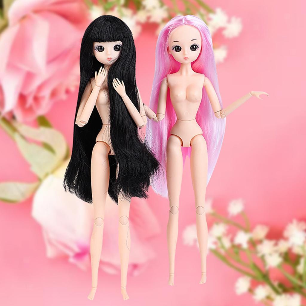 30cm-1-6-Scale-Flexible-BJD-26-Jointed-Girl-Doll-Nude-Body-w-Hair-DIY thumbnail 11