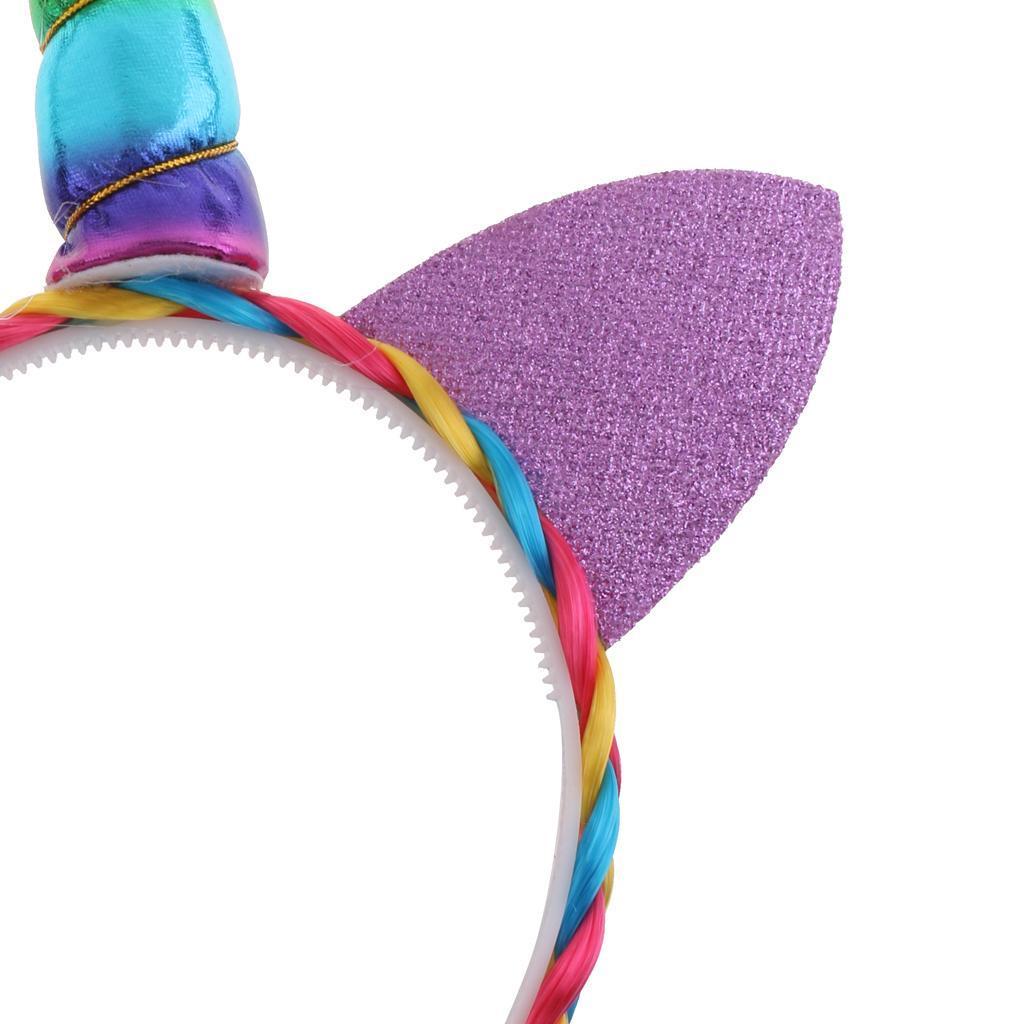 Girls-Pony-Unicorn-Horn-Ear-Flower-Veil-Headband-Fancy-Dress-Cosplay-Hairband thumbnail 11