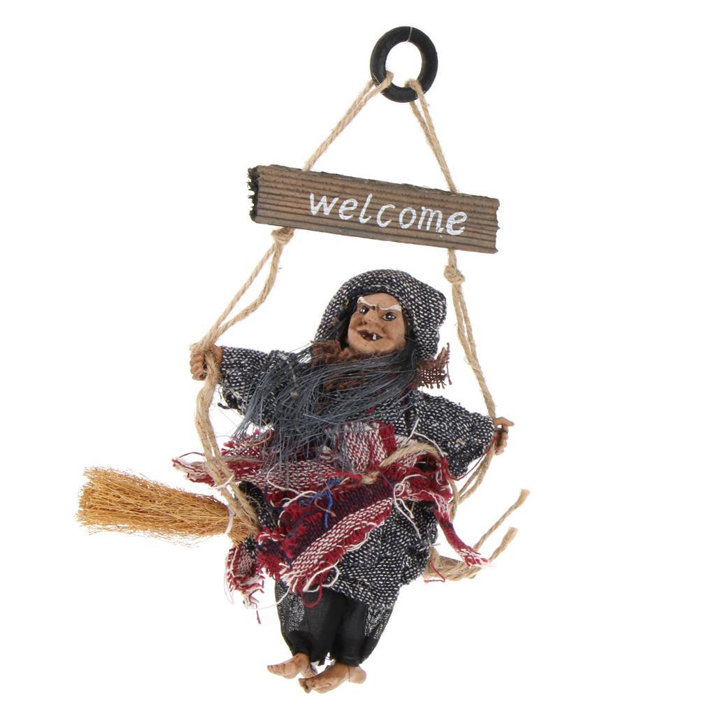 Halloween Wood Hanging Witch Broomsticker Door Haunted