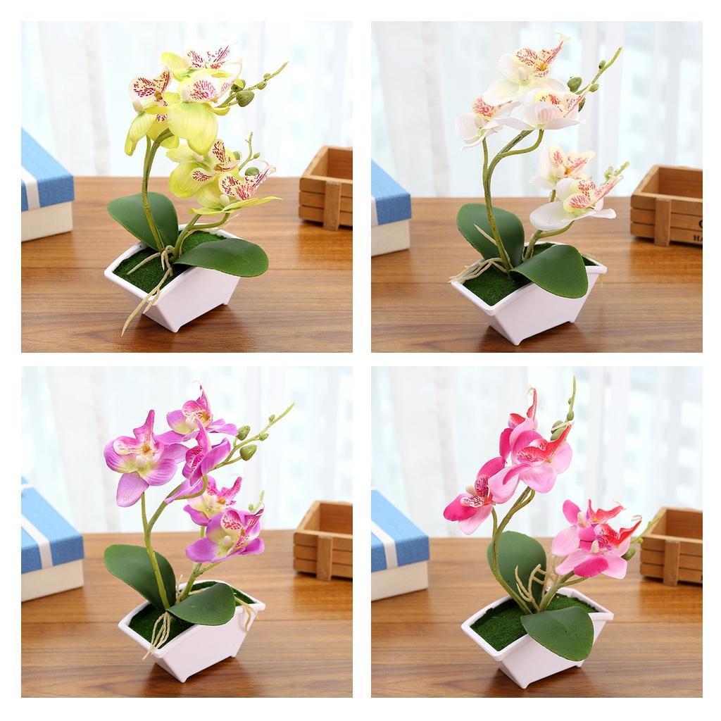Fake Orchids Bonsai W Vase Artificial ORCHID Silk Flower Arrangements Real Touch