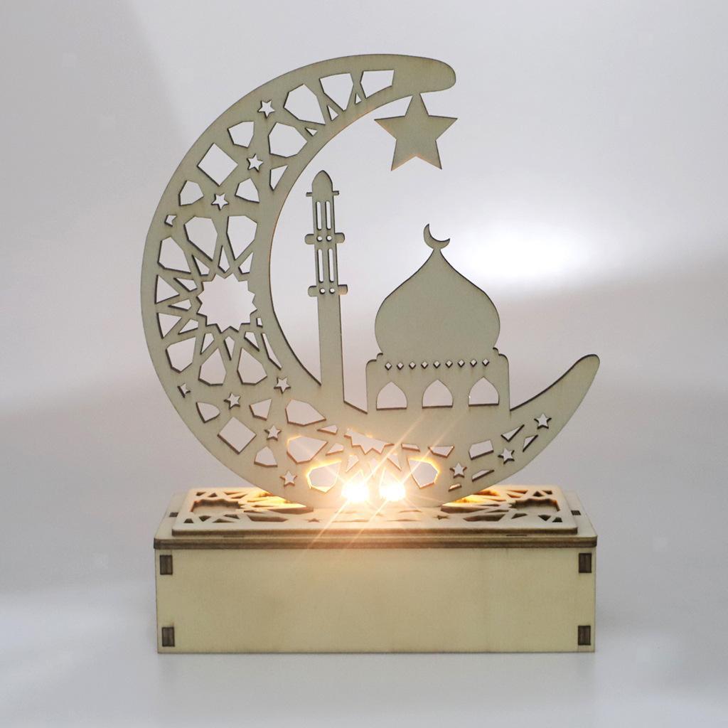 Decorations-En-Bois-Eid-Mubarak-Decorations-Fournitures-De-Fete-Musulmane miniature 13