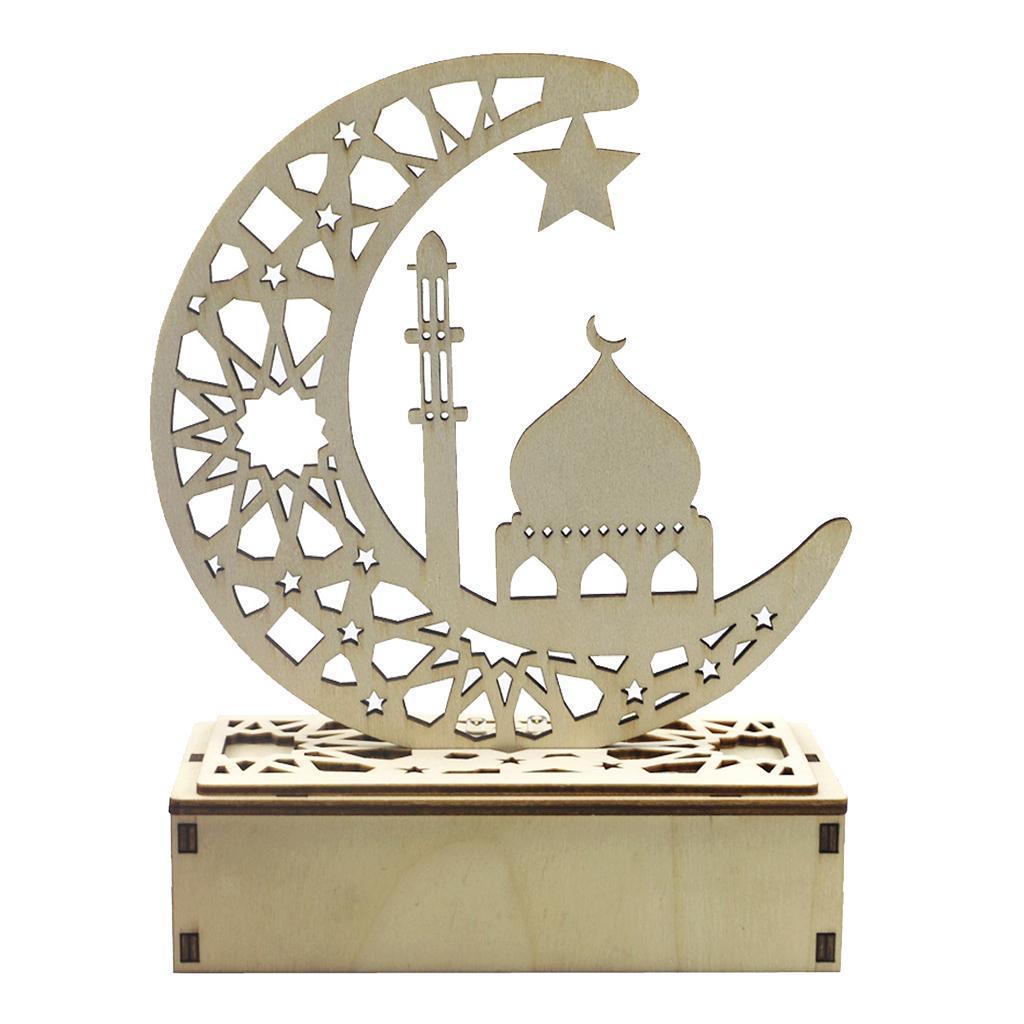 Decorations-En-Bois-Eid-Mubarak-Decorations-Fournitures-De-Fete-Musulmane miniature 12