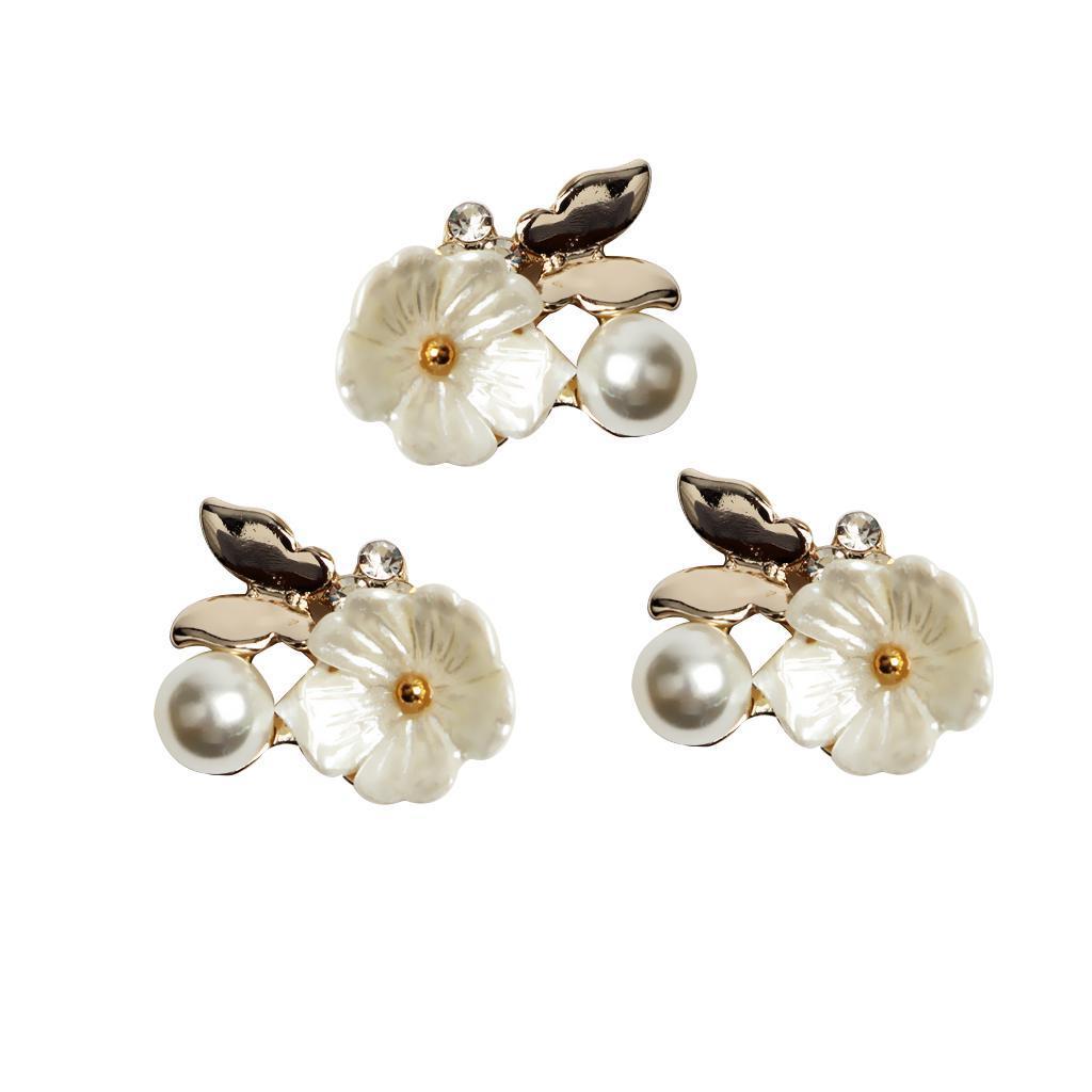 10-Stuecke-Flatback-Perle-Blume-Kristall-Strass-Knoepfe-Verzierung-Faltback Indexbild 4