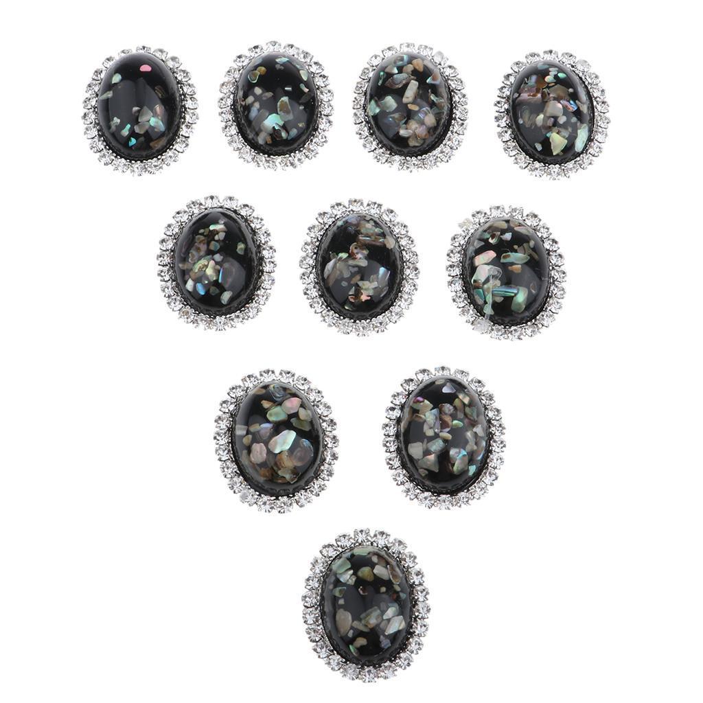 10-Stueck-Legierung-Strass-Flatback-Kristall-rhinestone-Knopf-Flatback-Knoepfe Indexbild 10