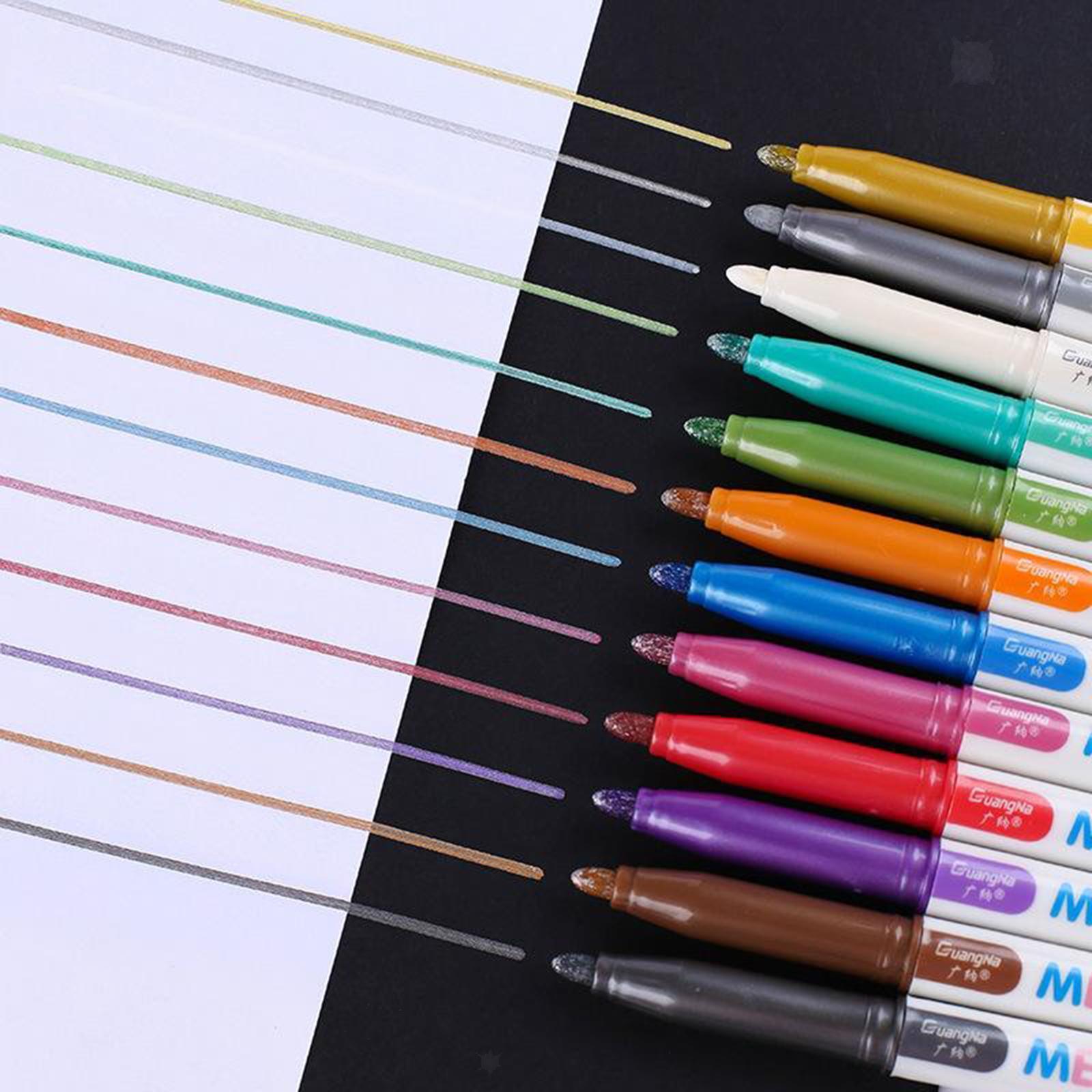 miniatura 11 - 8-12-20x-Permanente-Metallic-Marcatori-Vernici-Penne-per-Adulti-Colouring