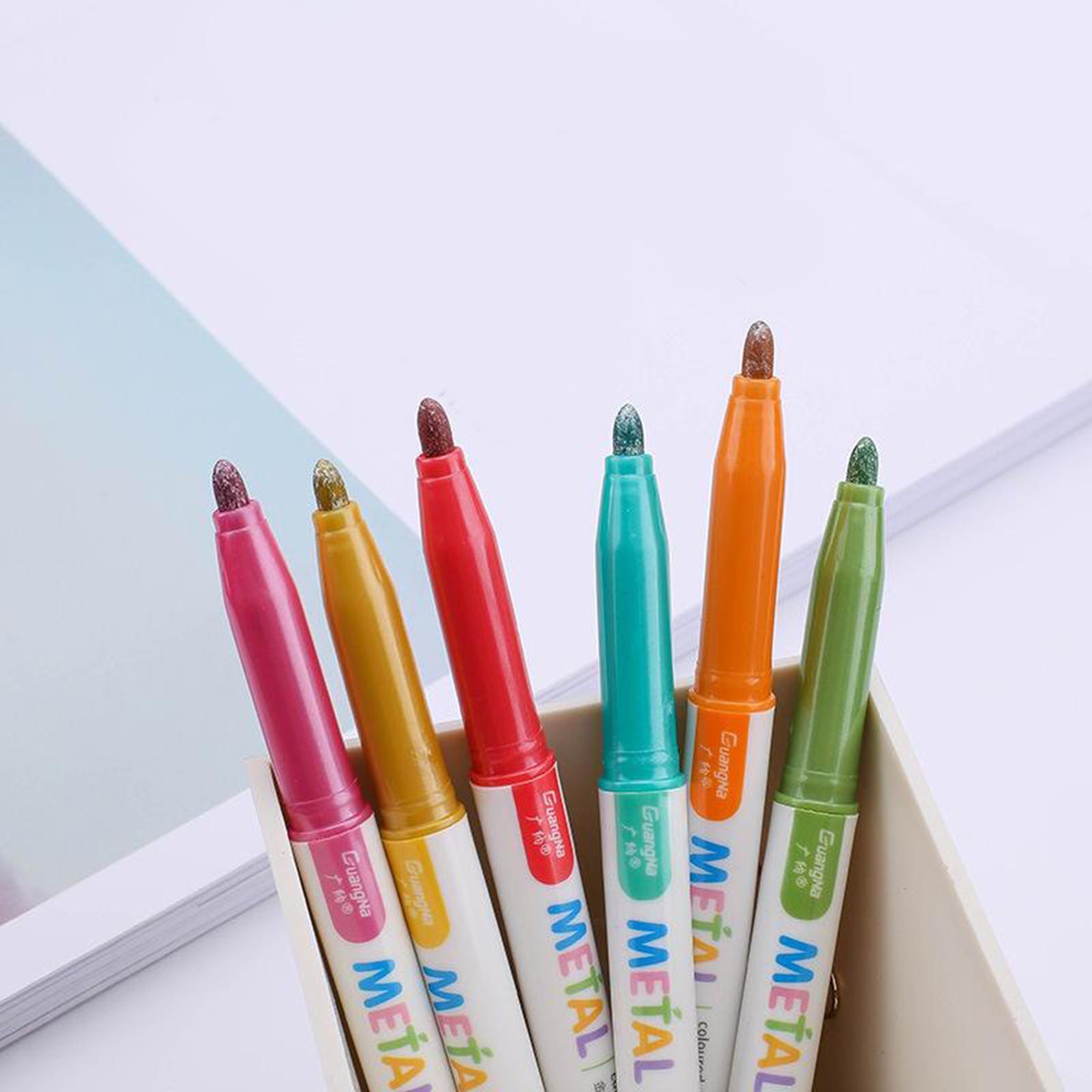 miniatura 6 - 8-12-20x-Metallic-Marcatori-Penna-Permanente-per-il-Tessuto-Metallo-Ceramica