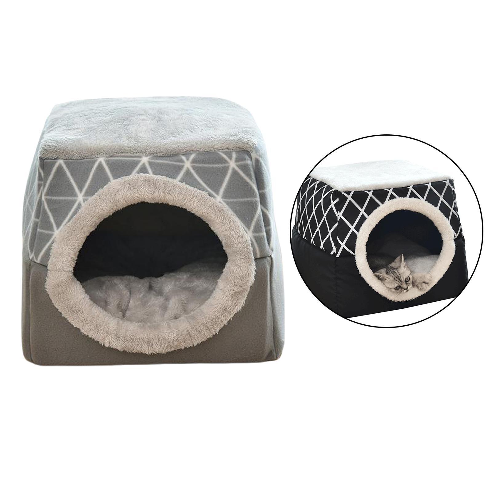 Indexbild 6 - 2-in-1-Weichen-Katzen-Haus-Schlafen-Bett-Zwinger-Puppy-Cave-Warme-Nest-Matte