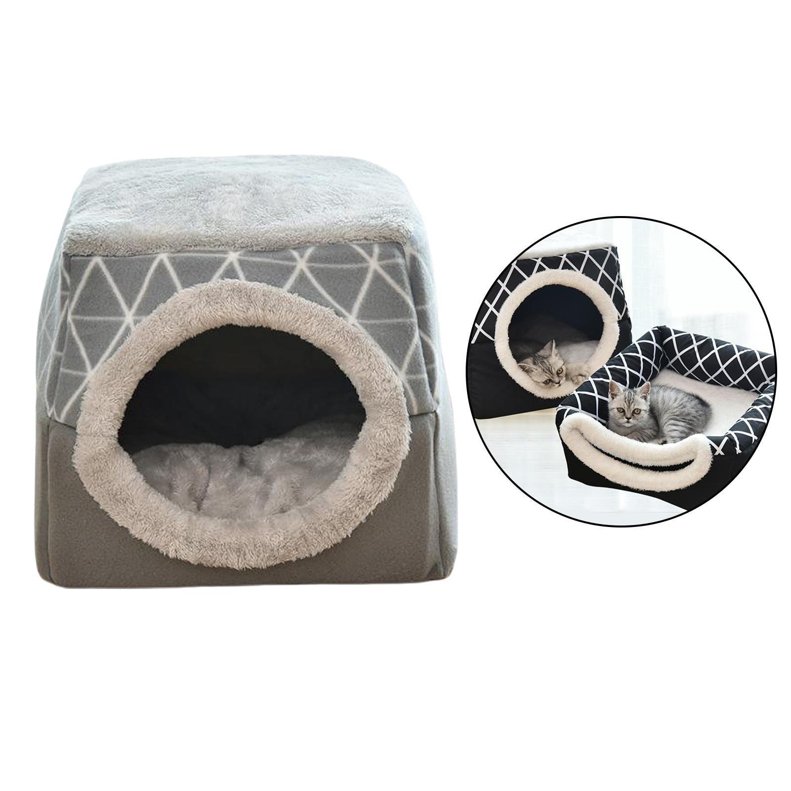 Indexbild 11 - 2-in-1-Weichen-Katzen-Haus-Schlafen-Bett-Zwinger-Puppy-Cave-Warme-Nest-Matte