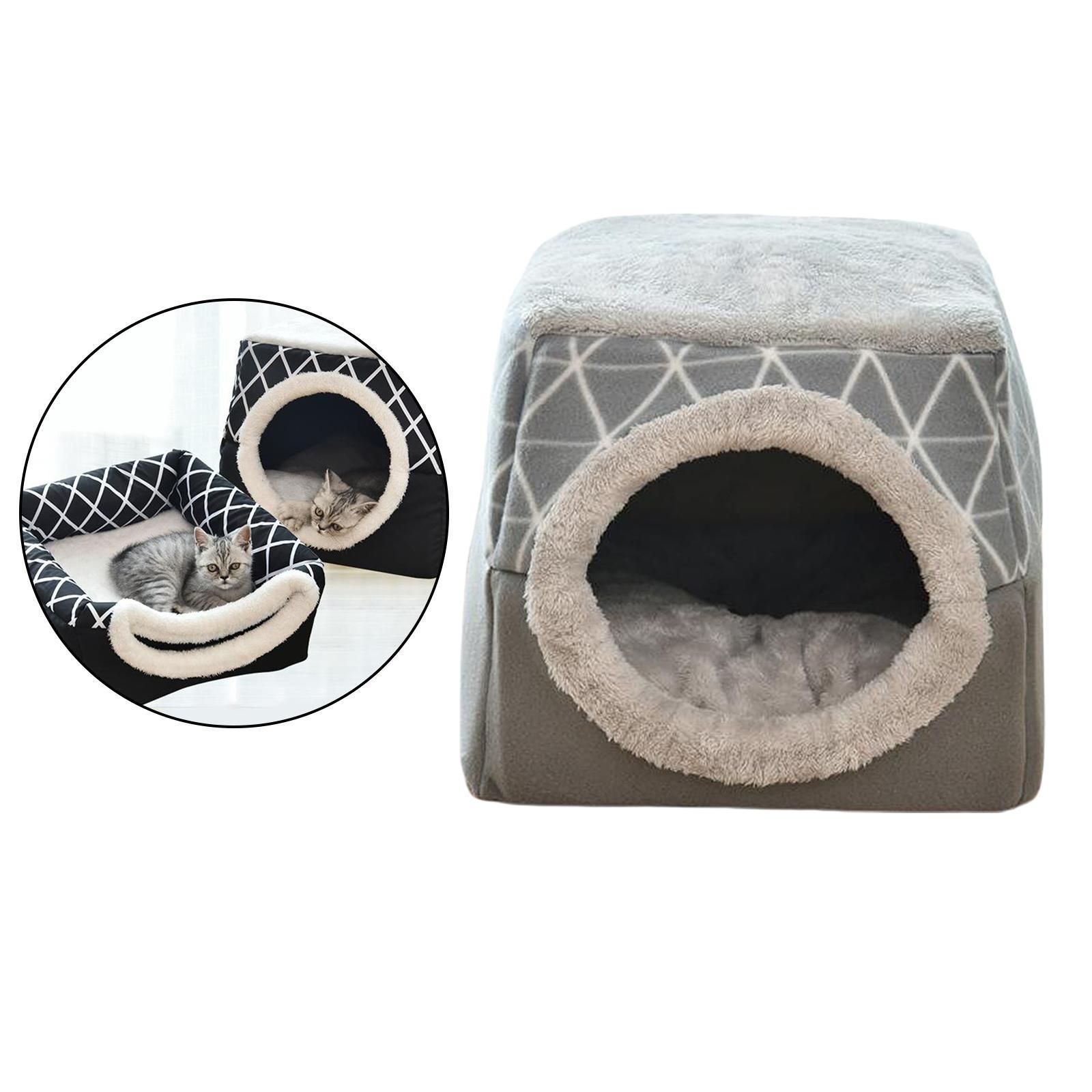 Indexbild 5 - 2-in-1-Weichen-Katzen-Haus-Schlafen-Bett-Zwinger-Puppy-Cave-Warme-Nest-Matte