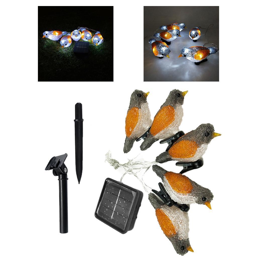 miniature 26 - 5 solaire Oiseaux Jeu de Lumières avec Clip Jardin Paysage De Noël Décor