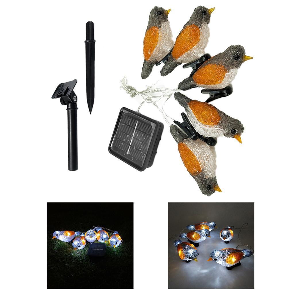 miniature 25 - 5 solaire Oiseaux Jeu de Lumières avec Clip Jardin Paysage De Noël Décor
