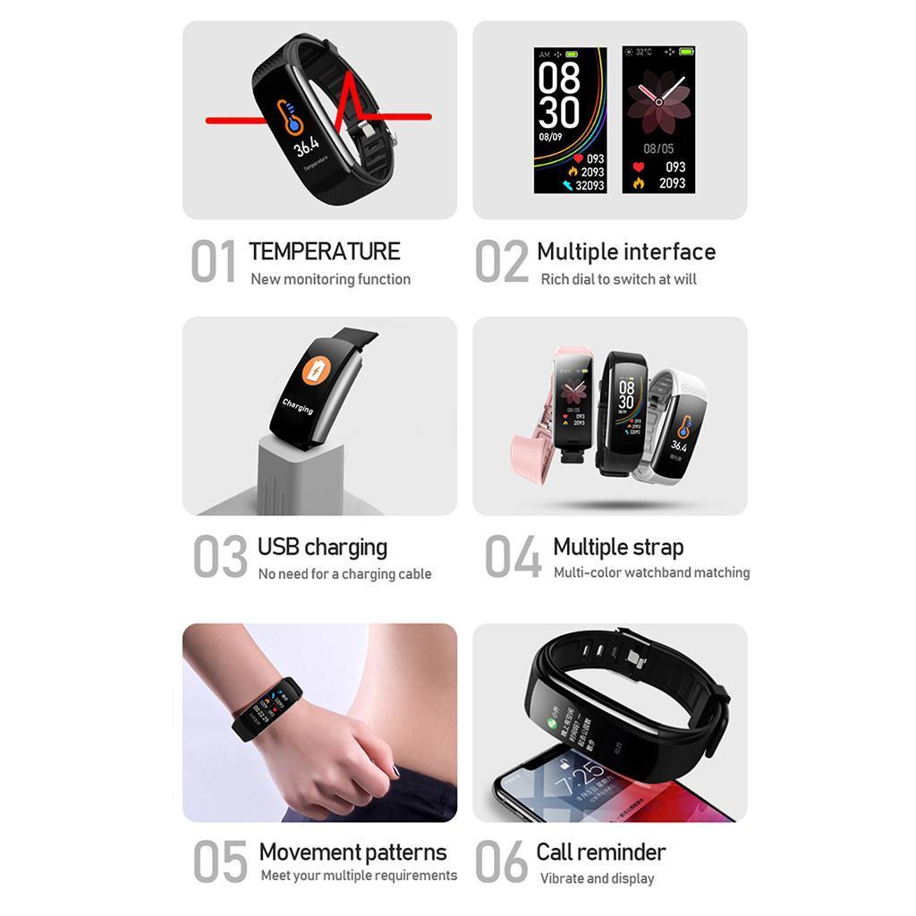 Indexbild 3 - Smart Watch Temperaturmesser Herzfrequenzmesser Blutdruck Fitness Tracker