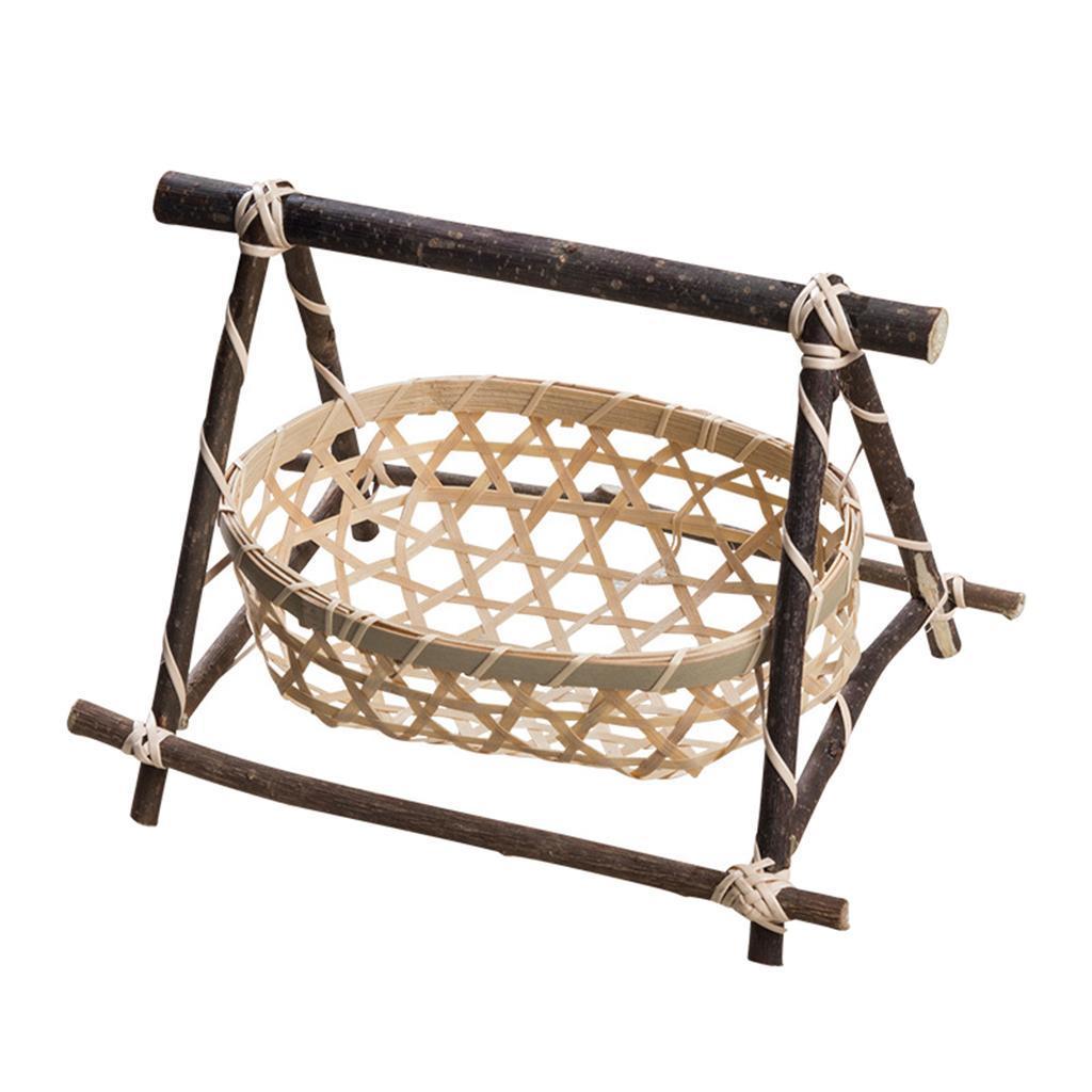 miniatura 28 - Di vimini Cesto di Pane di Frutta Dado Snack Cesto Di Bambù Tessuto di