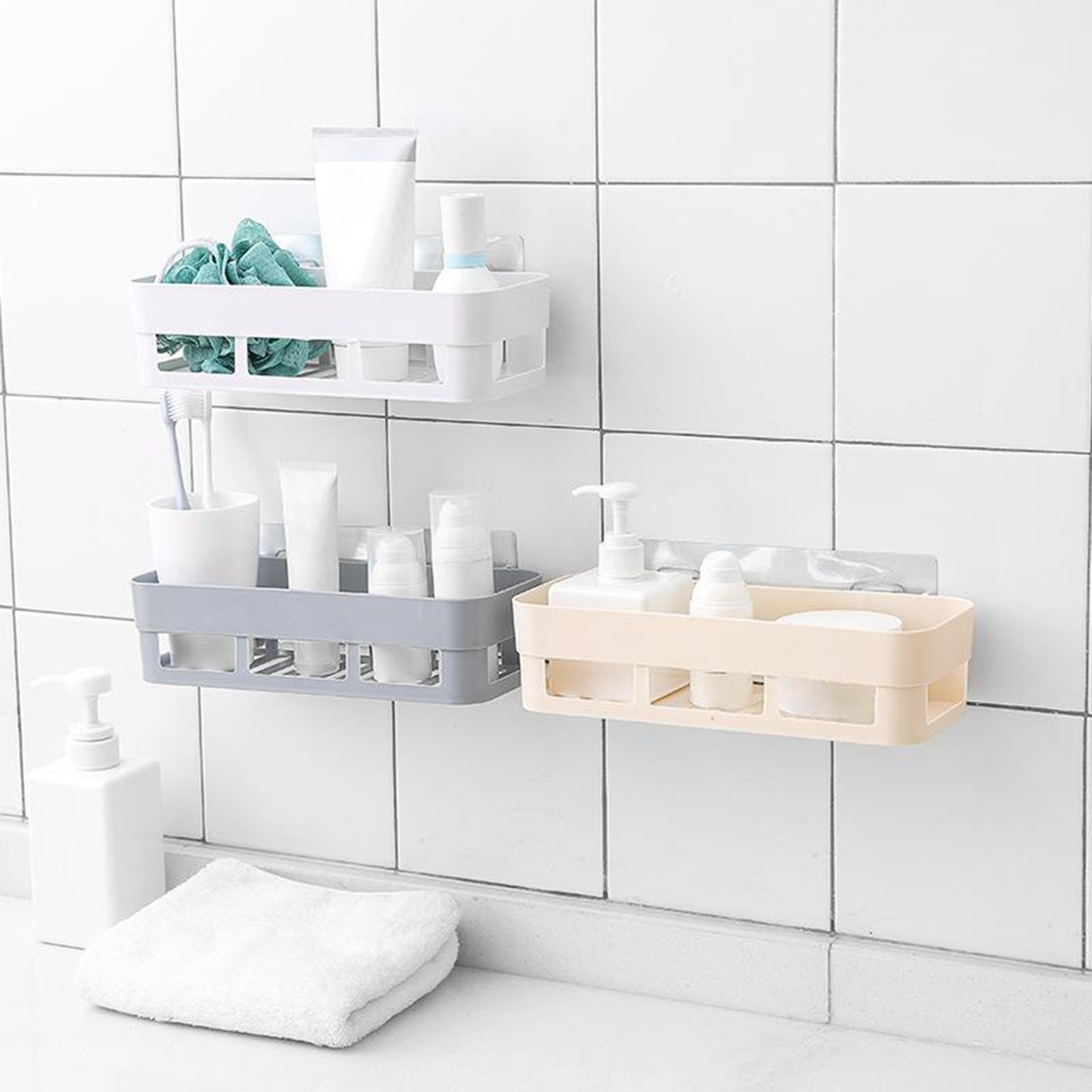 thumbnail 11 - Self-Adhesive-Shower-Shelf-Plastic-Shower-Caddy-Organiser-Bathroom-Shelf