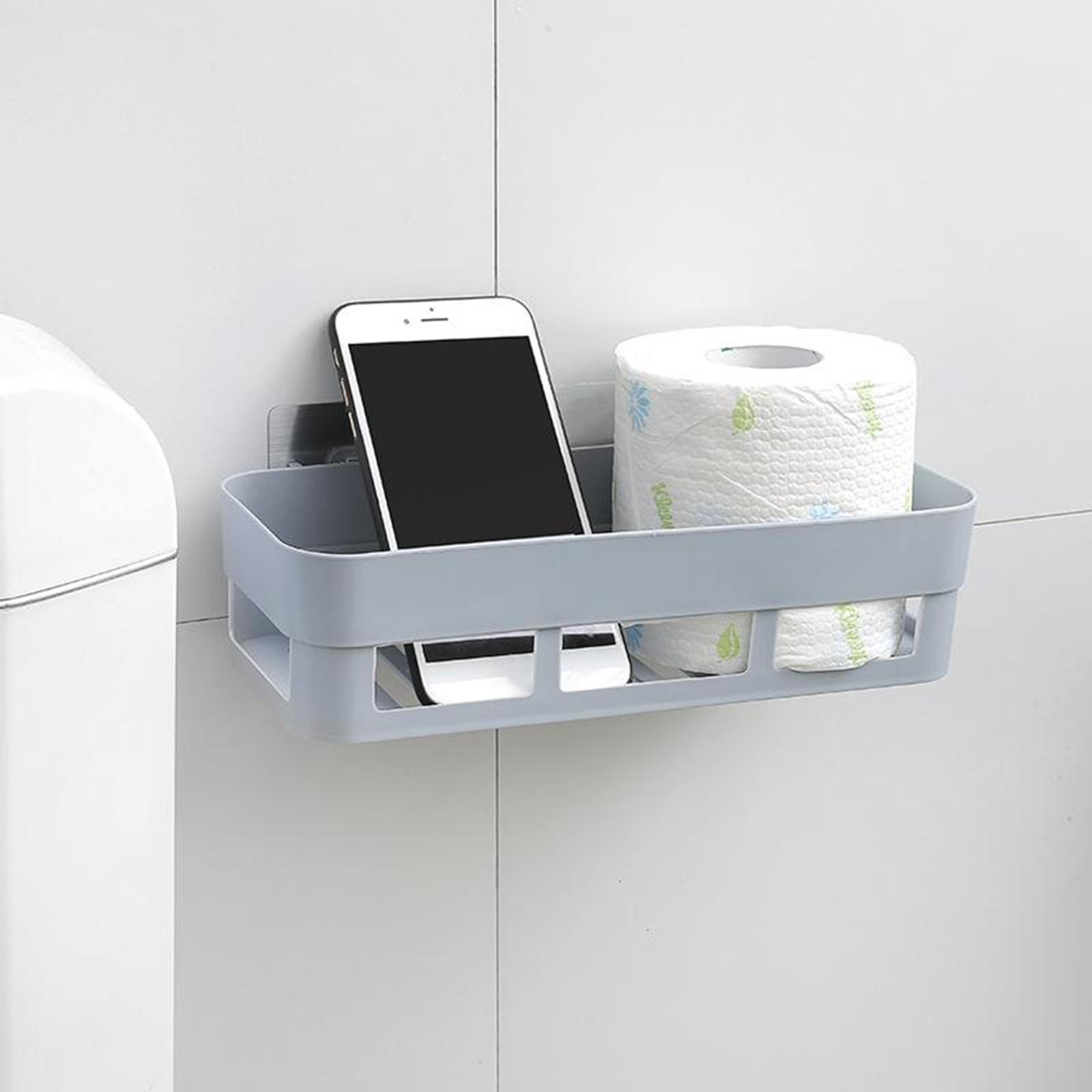 thumbnail 4 - Self-Adhesive-Shower-Shelf-Plastic-Shower-Caddy-Organiser-Bathroom-Shelf