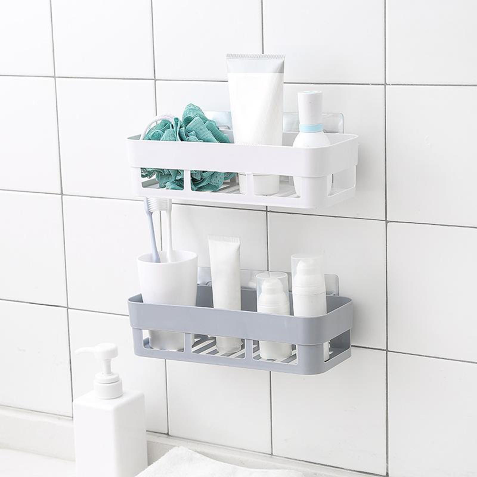 thumbnail 13 - Self-Adhesive-Shower-Shelf-Plastic-Shower-Caddy-Organiser-Bathroom-Shelf