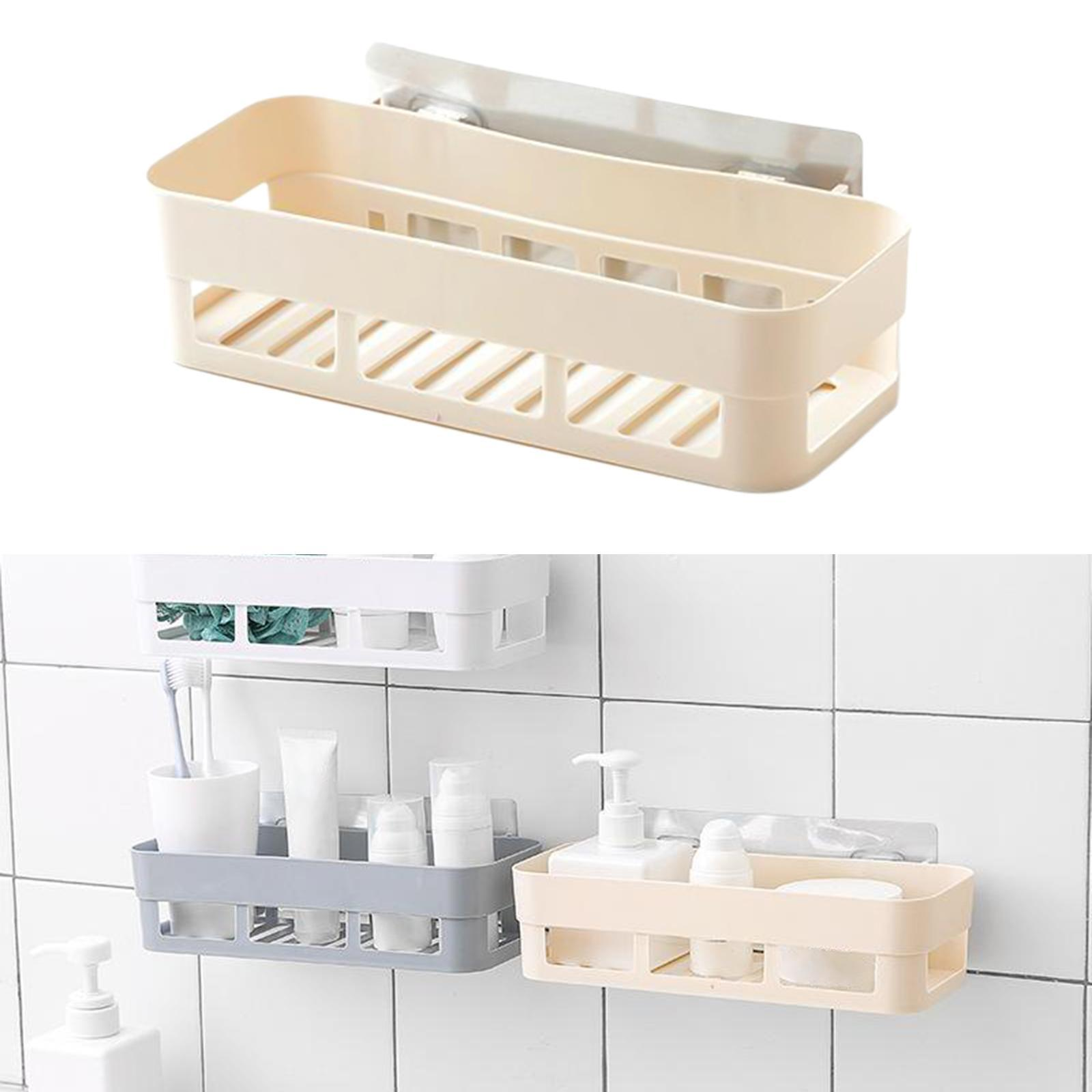 thumbnail 10 - Self-Adhesive-Shower-Shelf-Plastic-Shower-Caddy-Organiser-Bathroom-Shelf