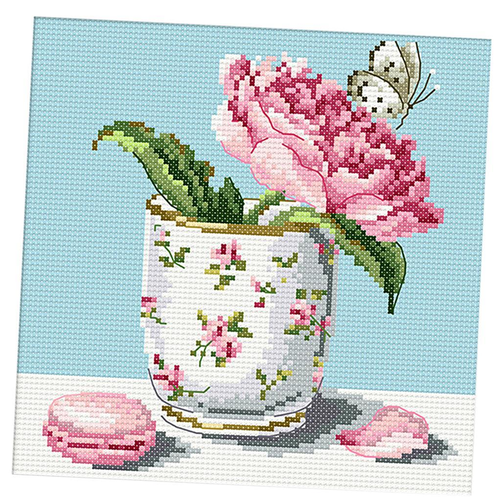 Flowers-Stamped-Cross-Stitch-Embroidery-kit-14ct-11ct-Aida-Cloth-Sewing-Craft thumbnail 6