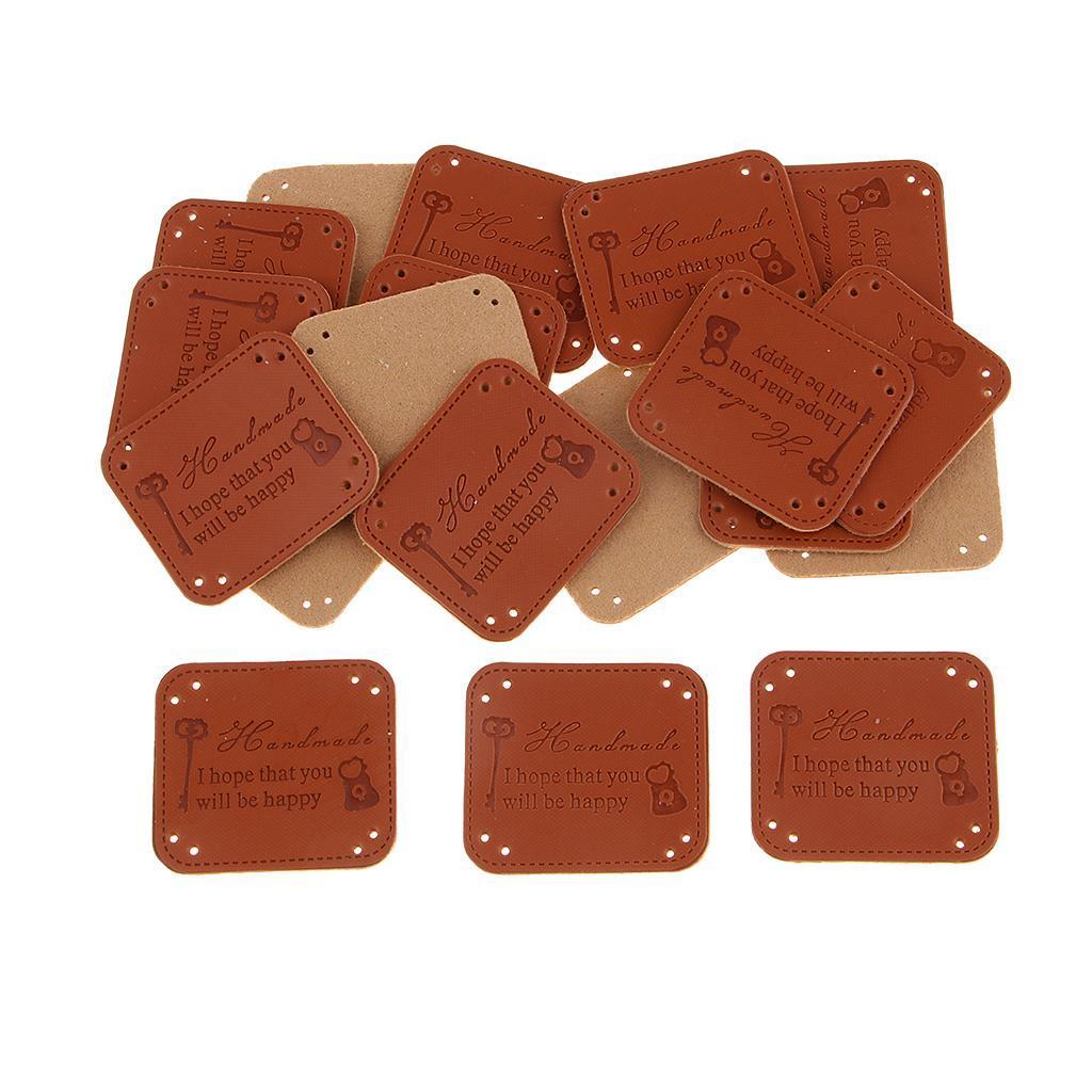 miniatura 3 - Etichette in pelle PU da 20 pezzi per cucire toppe per vestiti Artigianato fatto