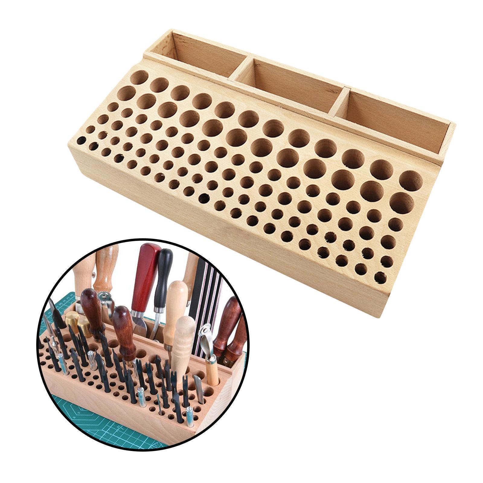 Indexbild 7 - Holz-Leder-Punch-Handwerk-Werkzeug-Rack-46-98-Loecher-Leathercraft-Stehen-Halter