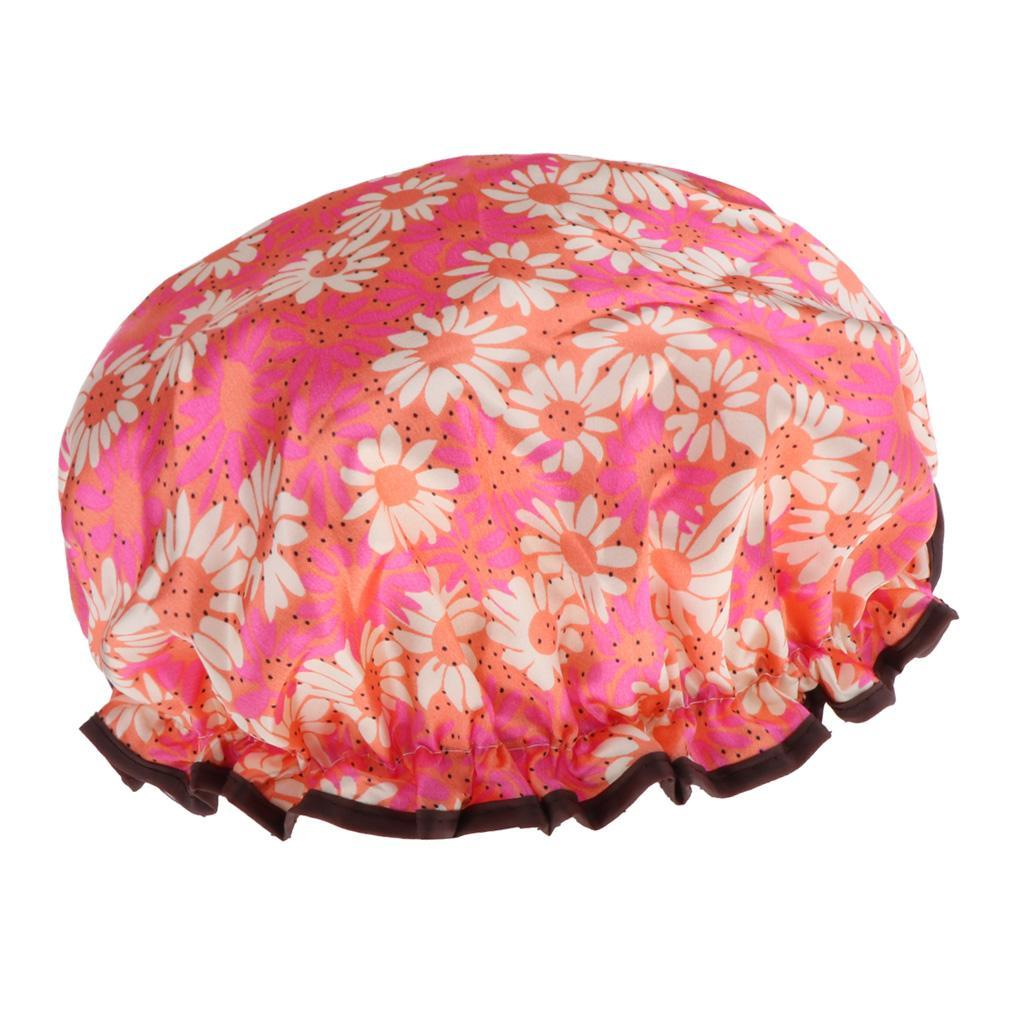 Bonnets-de-Douche-Impermeables-et-Reutilisables-pour-Femmes-Double-Couche-Spa miniature 11