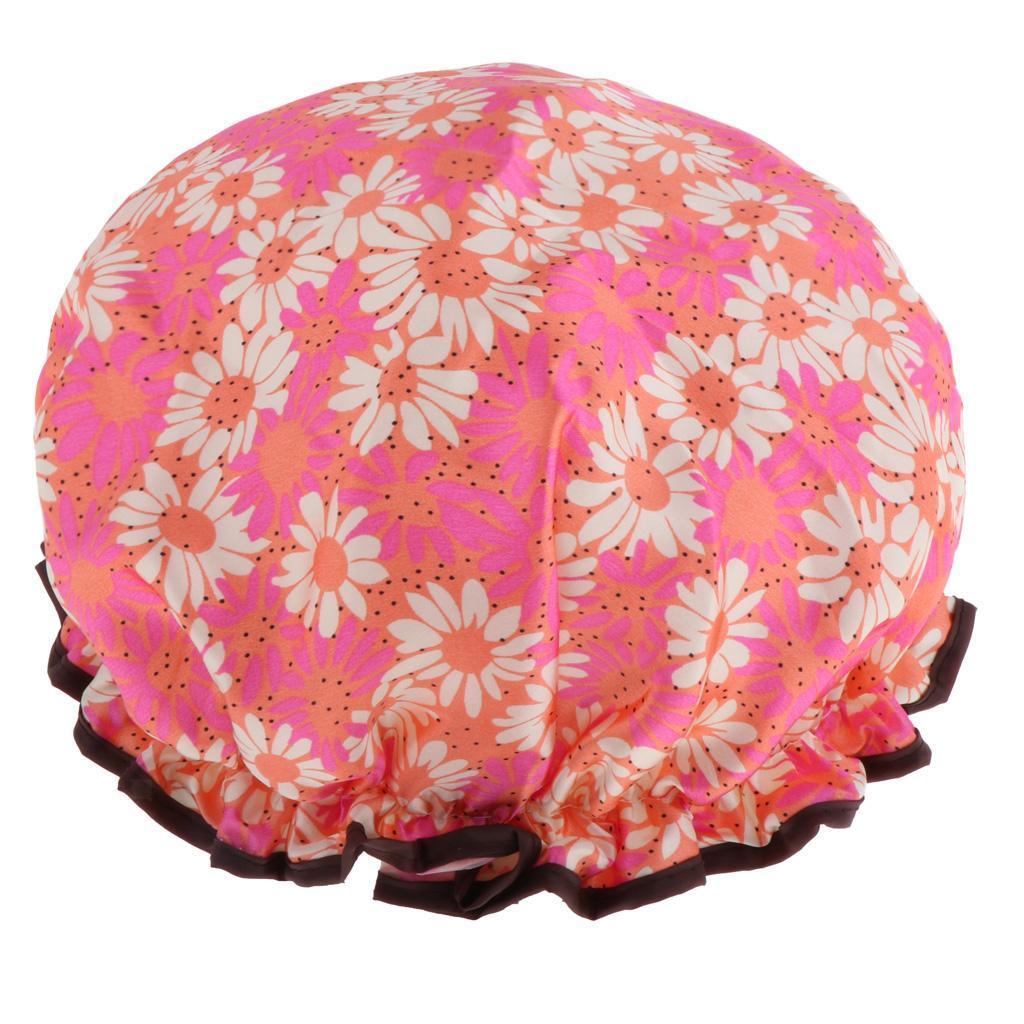 Bonnets-de-Douche-Impermeables-et-Reutilisables-pour-Femmes-Double-Couche-Spa miniature 10
