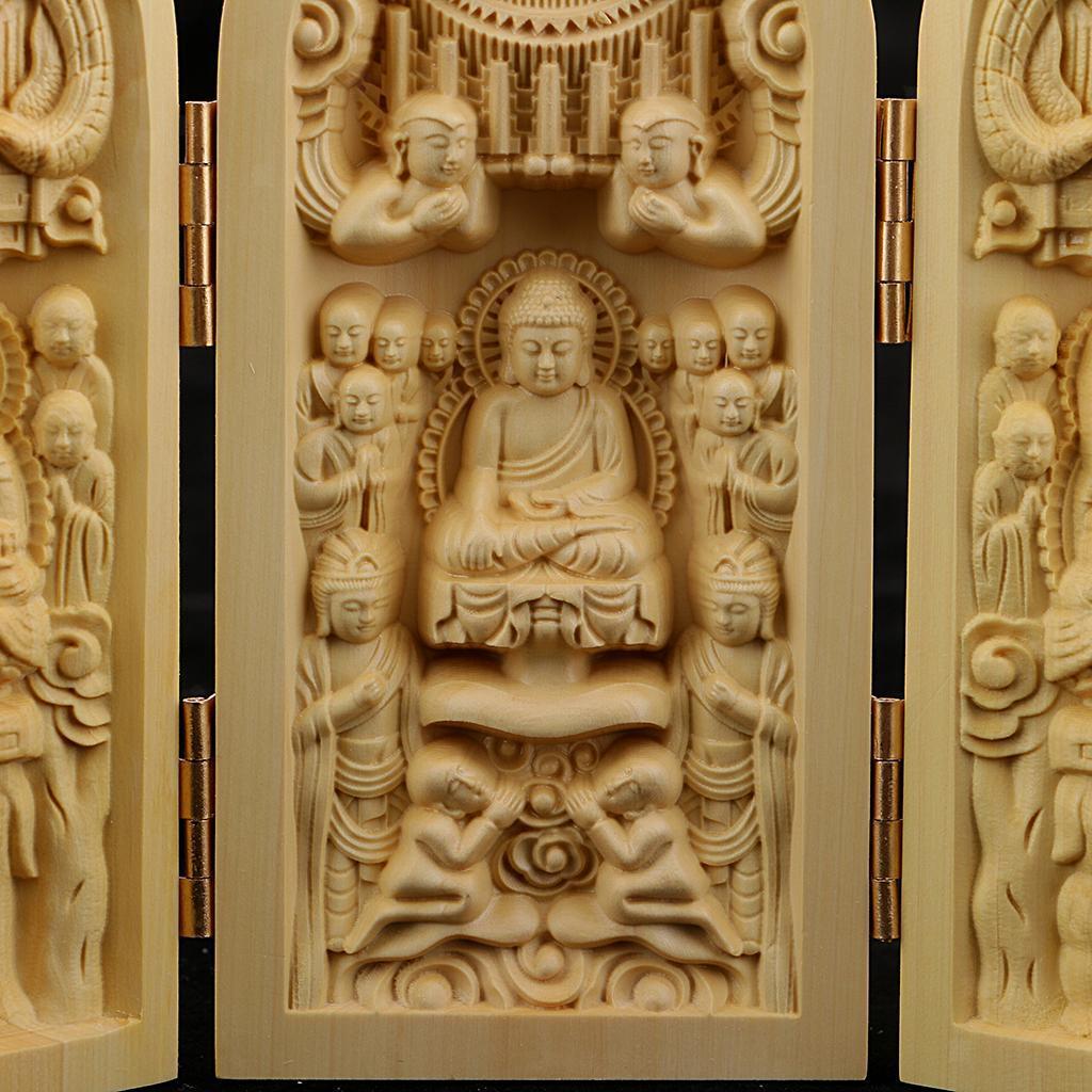 thumbnail 9 - Buddhism Temple Wooden Boxwood 3 Carved Buddha Guanyin Statue Box Set