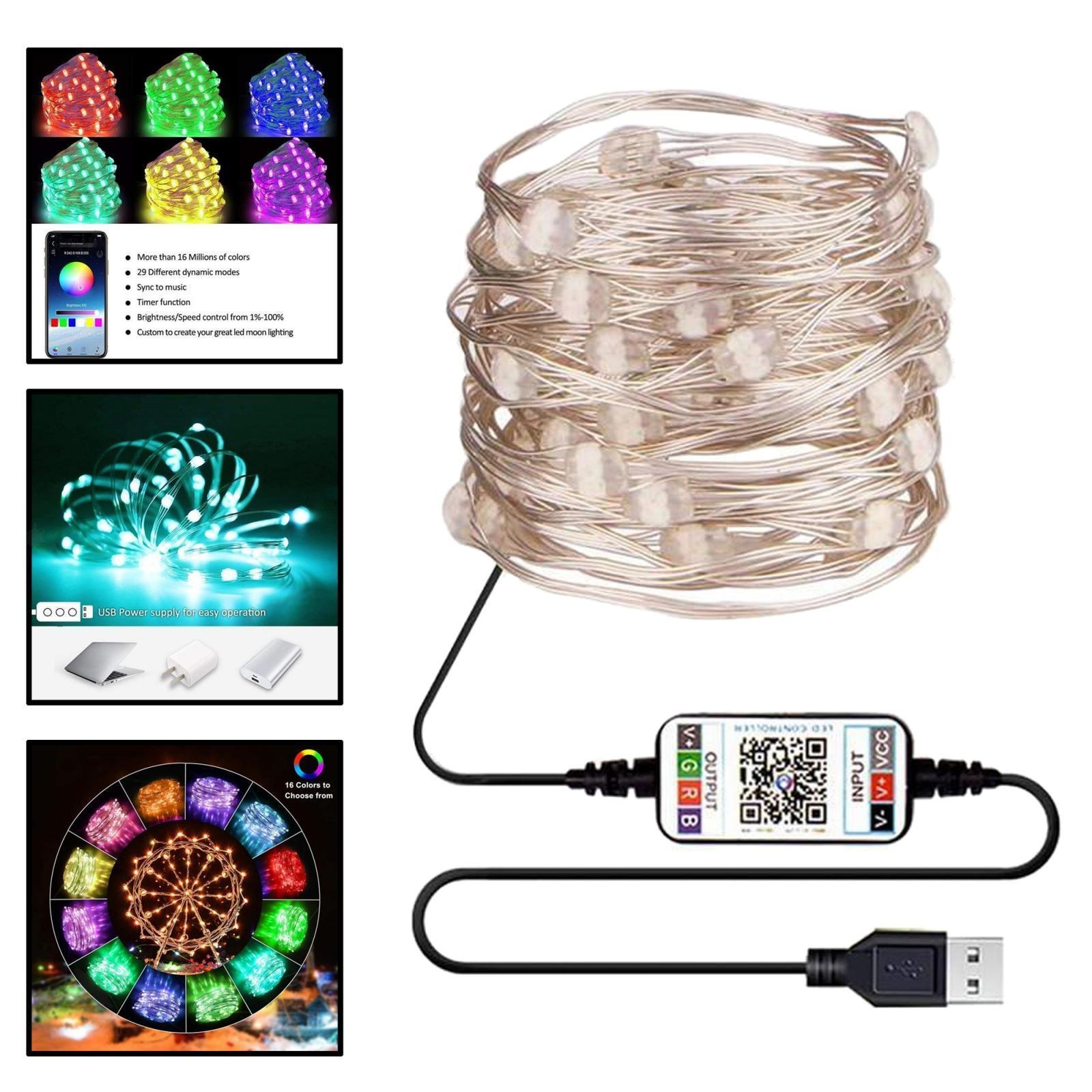 miniature 20 - LED Fée Guirlande Lumineuse Rideau Fenêtre De Mariage Party Decor App Contrôl