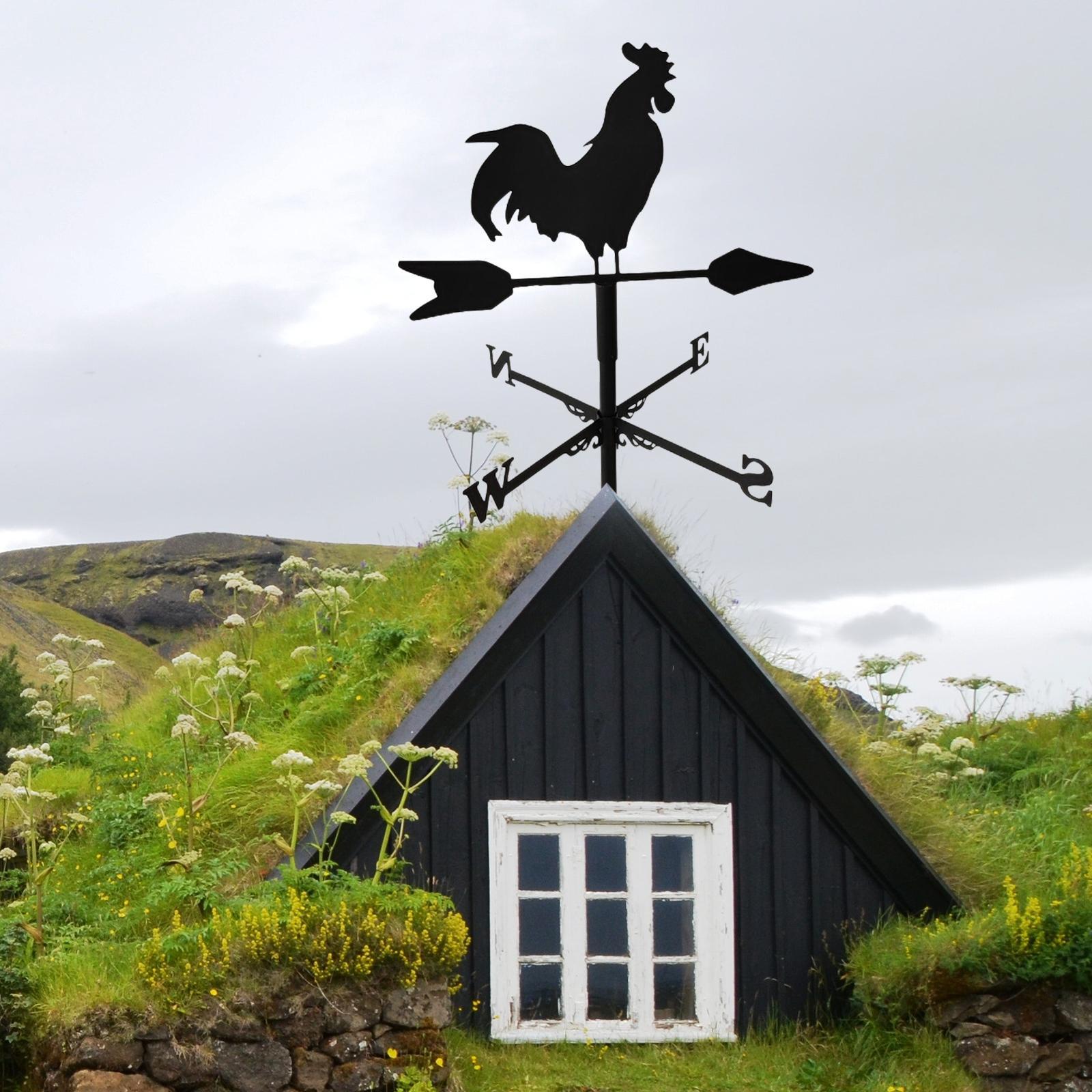Vintage Style Metal Cock Shape Weathervane Wind Direction Indicator Decor